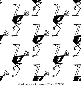 Outline sketch ostriches black and white seamless pattern background showing funny birds with long neck and legs suited for textile or page fill design