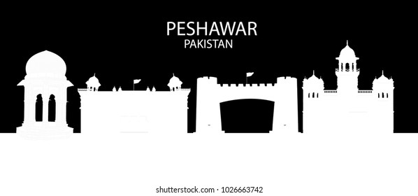 Outline of Skyline of Peshawar Pakistan in black background , showing Khyber Pass , Islamia College , Peshawar Museum and Yadgar Chowk