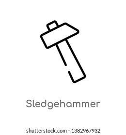 outline sledgehammer vector icon. isolated black simple line element illustration from general concept. editable vector stroke sledgehammer icon on white background