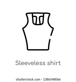 outline sleeveless shirt vector icon. isolated black simple line element illustration from clothes concept. editable vector stroke sleeveless shirt icon on white background