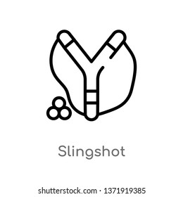 outline slingshot vector icon. isolated black simple line element illustration from camping concept. editable vector stroke slingshot icon on white background