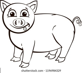 Outline of small cartoon pig with tongue for coloring for children on white background.