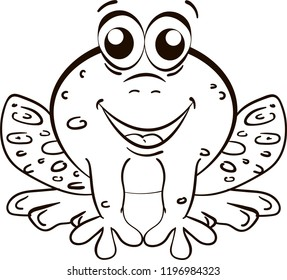 Outline of small cartoon smiling frog for coloring for children on white background.