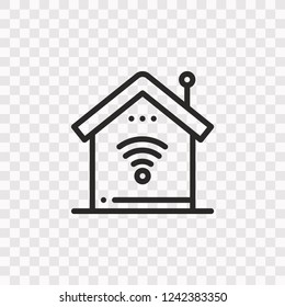 Outline Smarthome icon. Vector illustration style is flat iconic symbol, black color, transparent background. Designed for web and software interfaces. Editable stroke. Eps10