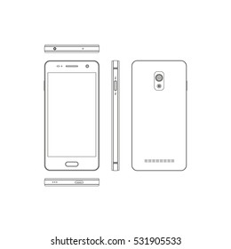 Outline smartphone on a white background. Phone in different views: in front, side, front, back. Touch telephone with the camera. Vector illustration