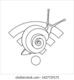 Outline Snail On The Wi-Fi Sign, for Coloring. Slow Internet Speed. Symbol of Slowness. Modern flat Vector illustration on white background.