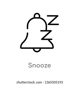 outline snooze vector icon. isolated black simple line element illustration from miscellaneous concept. editable vector stroke snooze icon on white background