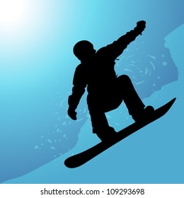 outline of the snowboarder on a blue background descent