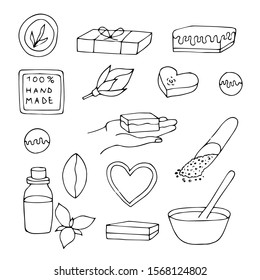 Outline soap making collection. hand drawn vector illustration. Sketch set of soap home making for sale. Soap with natural ingredients.