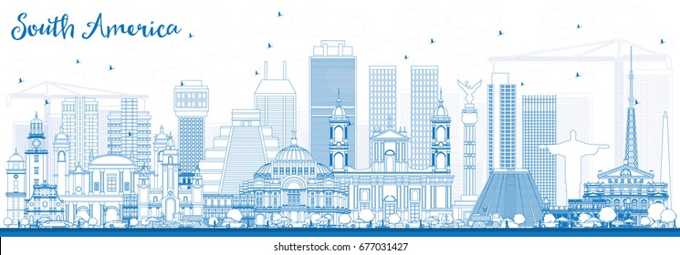 Outline South America Skyline with Famous Landmarks. Vector Illustration. Business Travel and Tourism Concept. Image for Presentation, Banner, Placard and Web Site.