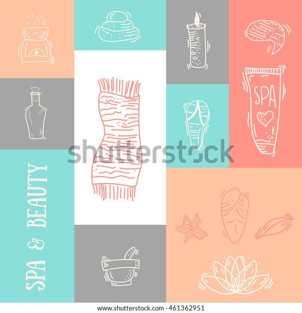 Outline Spa & Beauty colorful banner design with typography. Natural cosmetics set with bottles, candles, cream, stones.