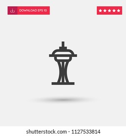 Outline Space Needle Icon isolated on grey background. Modern simple flat symbol for web site design, logo, app, UI. Editable stroke. Vector illustration. Eps10
