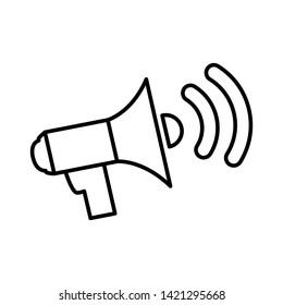 Outline speakers volume vector icon.