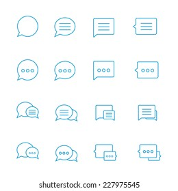 Outline Speech bubble icon set on white. Vector thin Chat lines. Blue outline talk pictogram. Line chat icons for flat design. Talk baloon icons isolated. Chat speech bubble icons. Talk types chat.