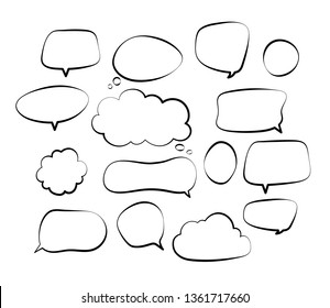 Outline speech bubbles. Doodle speech balloon sketch hand drawn scribble bubble talk cloud comic line retro shouting shapes vector set