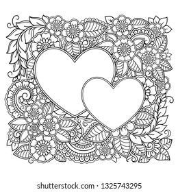 Outline square flower pattern in mehndi with heart style for coloring book page. Antistress for adults and children. Doodle ornament in black and white. Hand draw vector illustration.