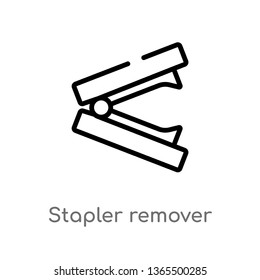 outline stapler remover vector icon. isolated black simple line element illustration from miscellaneous concept. editable vector stroke stapler remover icon on white background