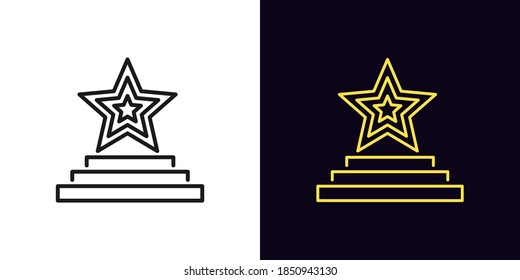 Outline star podium icon. Linear star sign on pedestal with editable stroke, award ceremony. Fashion exhibition, music award, winner, superstar show. Vector icon, sign, symbol for UI and Animation - Shutterstock ID 1850943130