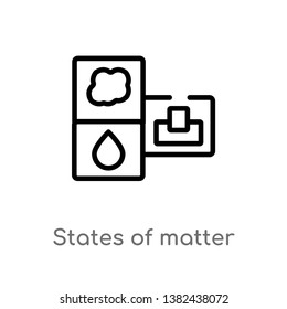 outline states of matter vector icon. isolated black simple line element illustration from cleaning concept. editable vector stroke states of matter icon on white background