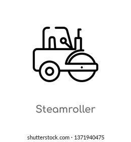 outline steamroller vector icon. isolated black simple line element illustration from construction concept. editable vector stroke steamroller icon on white background
