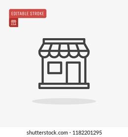 Outline Store icon isolated on grey background. Shop symbol for website design, mobile application, logo, ui. Editable stroke. Vector illustration. Eps10.