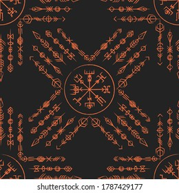 Outline straight and grunge old geometric ancient runic vertical symbols. Background with lines signs amuet