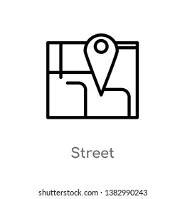 outline street vector icon. isolated black simple line element illustration from maps and flags concept. editable vector stroke street icon on white background