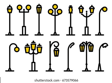 Outline streetlight icons collection. Isolated parks design element vector illustration.