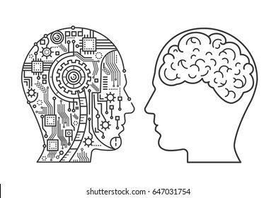 Outline stroke Machinery head of cyborg and the human one with the brain. Line style vector illustration.