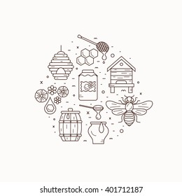 Outline style beekeeping  product vector concept illustration with elements: bee, honey, bee house, honeycomb, apiary, beehive, flower.