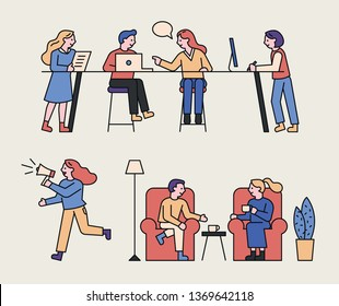 Outline style chat people characters. flat design style minimal vector illustration