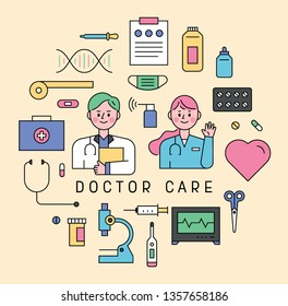 Outline style hospital object icons and  doctor characters. flat design style minimal vector illustration