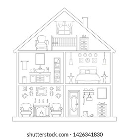 Outline style house. Linear model of the cottage in section. The layout of the rooms in the house. Vector drawing with thin lines.