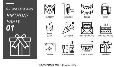 Outline Style Icon Pack Birthday Party Stock Vector Royalty Free