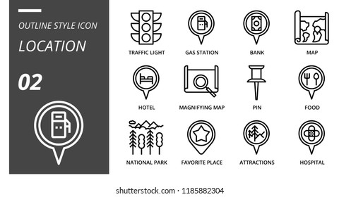 Outline style icon pack for location, traffic light, gas station, bank, map, hotel, magmitifying map,pin, food, nationnal par, favorite place, attractions, hospital