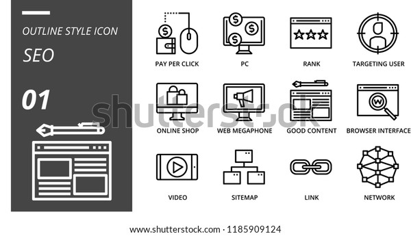 Outline Style Icon Pack Seo Pay Stock Vector (Royalty Free