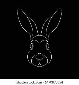 Outline of stylized rabbit portrait on black background. Line art. Stencil art