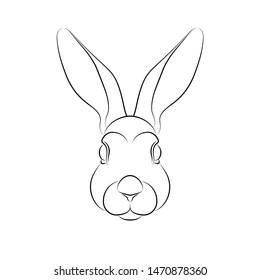 Outline of stylized rabbit portrait on white background. Line art. Stencil art