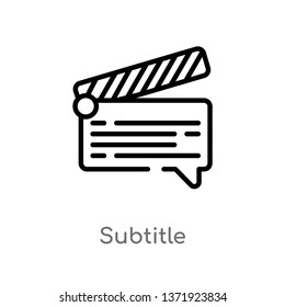 outline subtitle vector icon. isolated black simple line element illustration from cinema concept. editable vector stroke subtitle icon on white background