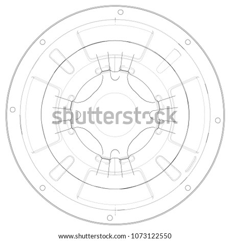 Outline Subwoofer Speaker Vector Rendering 3 D Stock Vector Royalty