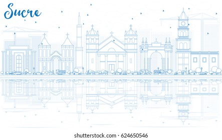Outline Sucre Skyline with Blue Buildings. Vector Illustration. Business Travel and Tourism Concept with Historic Architecture. Image for Presentation Banner Placard and Web Site.