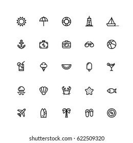 Outline Summer Icons
