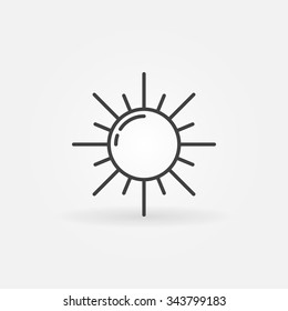 Outline sun icon - vector sunlight isolated symbol or logo in thin line style
