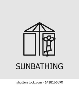 Outline sunbathing vector icon. Sunbathing illustration for web, mobile apps, design. Sunbathing vector symbol.