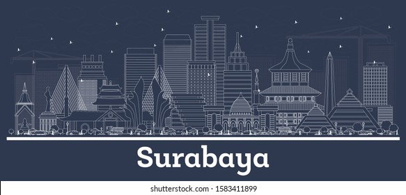 surabaya landmark images stock photos vectors shutterstock https www shutterstock com image vector outline surabaya indonesia city skyline white 1583411899