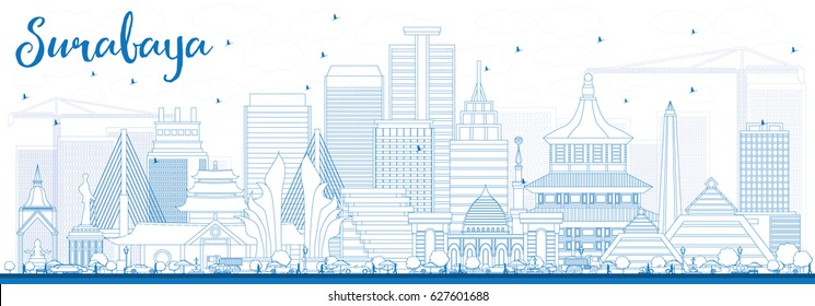 Outline Surabaya Skyline with Blue Buildings. Vector Illustration. Business Travel and Tourism Concept with Modern Architecture. Image for Presentation Banner Placard and Web Site.