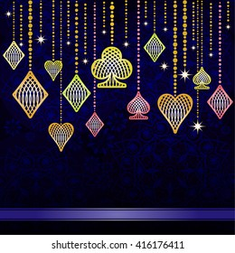Outline symbols of playing cards on a dark gradient background. Vector background.