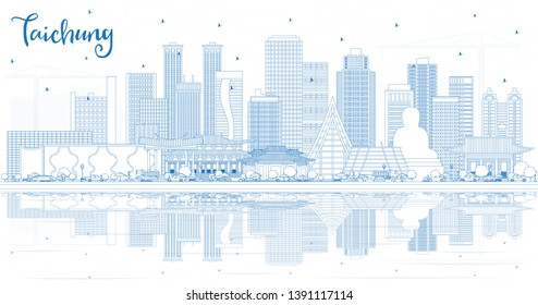 Outline Taichung Taiwan City Skyline with Blue Buildings and Reflections. Vector Illustration. Business Travel and Tourism Concept with Historic Architecture. Taichung China Cityscape with Landmarks.