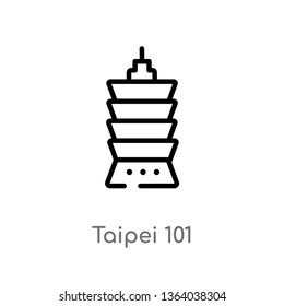 outline taipei 101 vector icon. isolated black simple line element illustration from monuments concept. editable vector stroke taipei 101 icon on white background