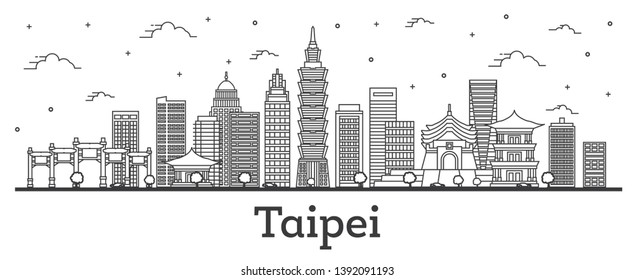 Outline Taipei Taiwan City Skyline with Modern Buildings Isolated on White. Vector Illustration. Taipei Cityscape with Landmarks.